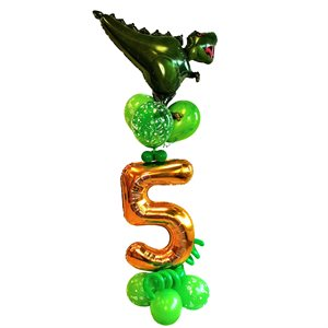 BALLOONS ARRANGEMENT - 5 YR OLD BASE WITH LATEX & DINO MYLAR