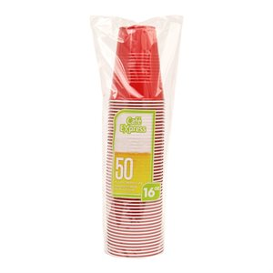 CAFE EXPRESS 16 OZ. PS CUPS RED/WHITE 50/PKG