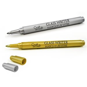CRAFT DECOR - GLASS WRITERS X2 1.2MM FINE POINT METALLIC - G