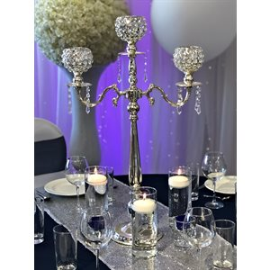 CENTRE DE TABLE CHANDELIER EN CRISTAL 3 BRANCHES - LOCATION