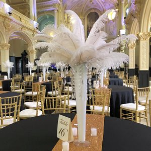 CENTRE DE TABLE PLUMES BLANCHES - LOCATION